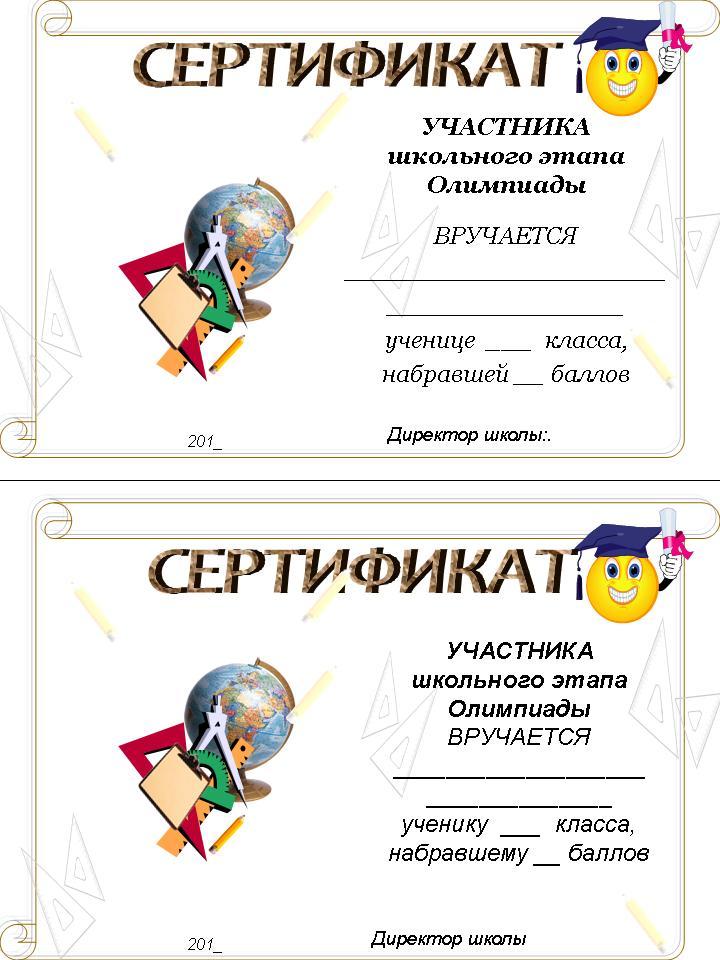 Школьные сертификаты за участие в конкурсе